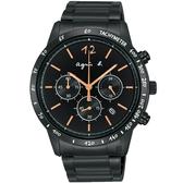 agnes b. 法式三眼計時手錶-43mm VK63-KVC0K(BU2004X1)