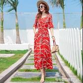 沙灘裙 2020夏季新款綿綢洋裝女夏天圓領套頭中長款中袖高腰度假沙灘裙