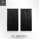 【默肯國際】Metal-Slim OPPO R17 ( 6.4吋) 仿皮革紋 超薄TPU側掀站立皮套 吊飾孔
