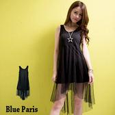 藍色巴黎~純色網紗拼接前短後長連身裙洋裝~11859 ~