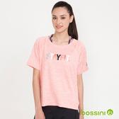 速乾文字印花短袖上衣01粉色-bossini女裝