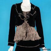【Deluxe】歐系古典豹紋花邊絨布綁帶長袖外套(黑)