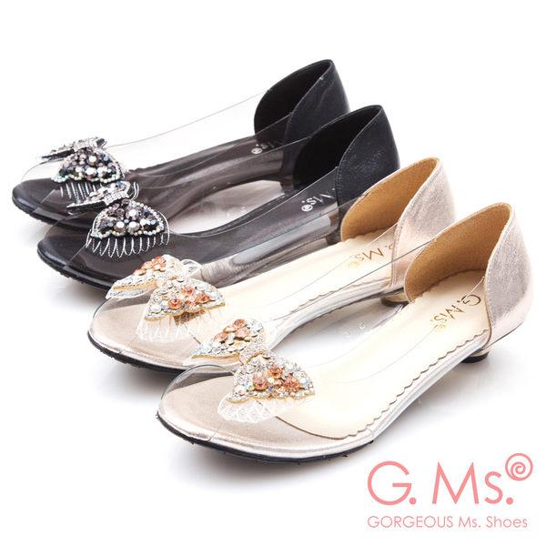 G.Ms.*MIT系列-果凍透明蝴蝶結燙鑽魚口低跟鞋*黑色