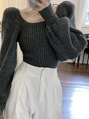 針織上衣 修身針織毛衣女裝短款2021秋冬季新款方領燈籠袖套頭打底罩衫上衣 童趣屋 交換禮物