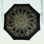 蓮花圖案彎柄雙骨加固加大男女商務居家長款自動晴雨傘【叢林之家】