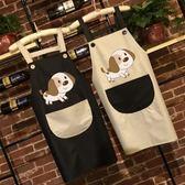 廚房可愛卡通圍裙防水防油  成人男女罩衣咖啡廳定制印logo 三角衣櫃