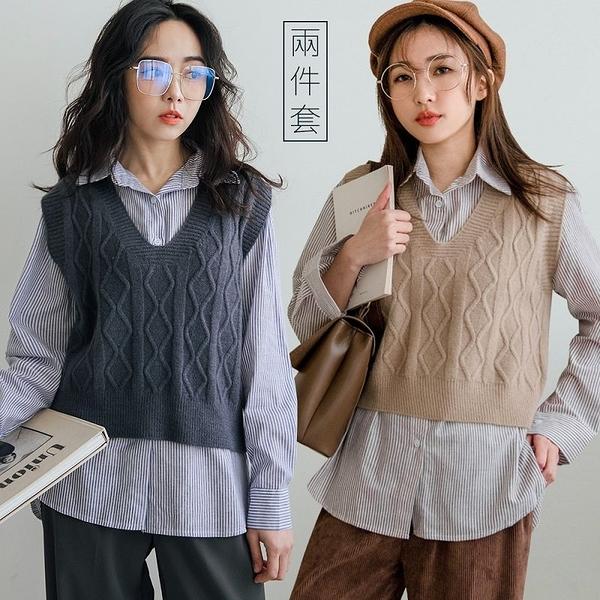 現貨-MIUSTAR 兩件式!V領麻花針織背心+直條紋襯衫(共3色)【NH3562】預購