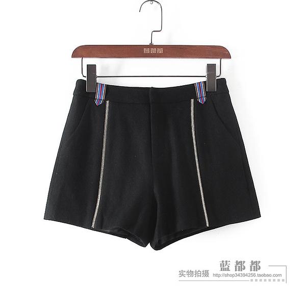 [超豐國際]水春秋裝女裝黑色運動型休閑個性短褲 33967(1入)