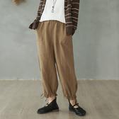 亞麻闊腿褲復古寬鬆長褲-夢想家-0216