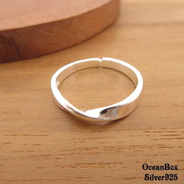§海洋盒子§亮面莫比烏斯環開口式925純銀戒指《925純銀戒指》