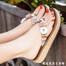 沙灘鞋拖鞋女夏時尚外穿海邊防滑厚底學生夾腳涼拖度假花朵人字拖