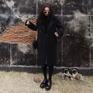 梨卡 - 韓國長版黑色保暖顯瘦中長版毛呢風衣大衣西裝外套A538