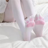 貓爪連褲襪女二次元日系洛麗塔軟妹可愛腳印貓咪長筒過膝白色絲襪 安妮塔小鋪