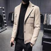 2019秋冬季新款男士毛呢大衣潮流韓版短款夾克男修身帥氣呢子外套
