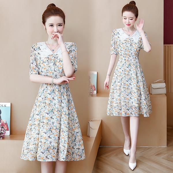 第二件5折 韓國風優雅雪紡花邊領V領泡泡袖短袖洋裝