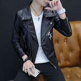 秋季新款皮衣男士外套加絨韓版修身青年帥氣機車皮夾克男潮流    提拉米蘇