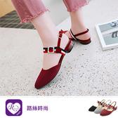 【快速出貨】韓系雜誌款紅藍彩帶扣環瑪莉珍低跟涼鞋/3色/35-43碼 (RX0886-F-100) iRurus 路絲時尚