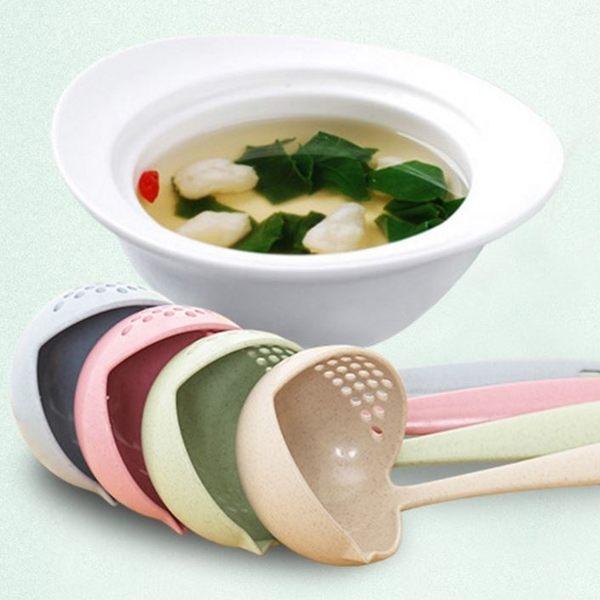 [拉拉百貨] 小麥秸稈 二合一湯勺 環保 勺子 火鍋勺 漏勺 長柄勺子