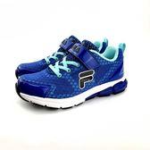 FILA 魔鬼氈 透氣網面  輕量運動鞋《7+1童鞋》4204 藍色