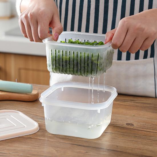 保鮮盒 瀝水籃 方形 保鮮罐 收納盒 瀝水盒 密封罐 密封盒 調味料 露營 保鮮盒【L106】米菈生活館