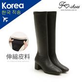 靴.彈性皮革粗跟長靴(黑)-大尺碼-FM時尚美鞋-韓國精選.Cold