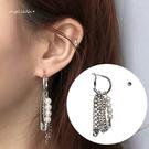 耳環-不對稱嘻哈情侶珍珠鍊條耳墬耳針 (SRA0149) AngelNaNa