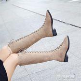 繫帶靴子女不膝上靴女高跟秋冬季粗跟中筒靴高筒馬丁靴 可可鞋櫃