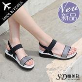 厚底鞋 正韓製 條紋個性 撞色顯瘦 粗跟 涼鞋【F712923】三色 SD韓美鞋