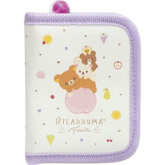 〔小禮堂〕懶懶熊 拉拉熊 方形皮質拉鍊飾品收納包《紫黃.水果》化妝包 4974413-75409
