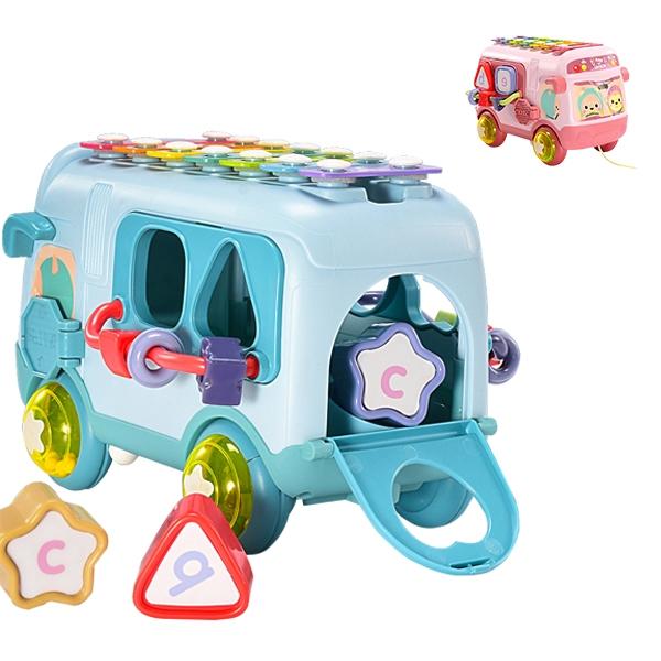 寶寶巴士 益智玩具車 七彩敲琴 搖鈴 形狀對對碰-JoyBaby