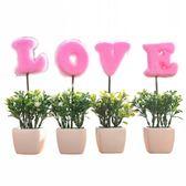 仿真植物LOVE小盆栽假花小樹草球盆景家居客廳桌面擺設裝飾品擺件 ☸mousika
