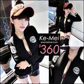 克妹Ke-Mei【ZT48236】歐洲站 辛辣龐克電繡徽章拉鍊騎士風針織外套