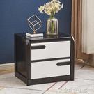 床頭櫃 北歐床頭櫃實木橡膠木簡約現代中式儲物櫃胡桃色加白整裝床邊櫃 爾碩LX