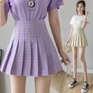 半身裙百褶裙 包臀裙~紫色格子半身裙小清新短裙高腰顯瘦a字百褶裙女BMA146C1日韓屋
