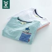 男童短袖t恤2020新款純棉半袖兒童竹節棉薄中大童上衣洋氣春裝潮 藍嵐