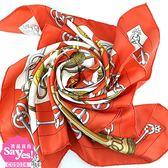 【奢華時尚】 秒殺推薦!HERMES 紅白色CLIQUETIS劍柄印花90公分絲質大披肩絲巾(八五成新)#22663