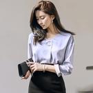 歐媛韓版 秋裝新款顯瘦V領純色韓國襯衫 OL氣質百搭職業長袖打底衫