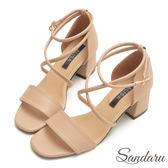 訂製款 一字交叉踝釦粗跟涼鞋-艾莉莎Alisa【107A551】卡其色下單區