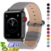 【美國代購】Fullmosa 真皮錶帶適用iWatch系列4 44毫米42毫米 灰色+煙灰色扣