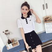 套裝裙 新款韓版修身翻領字母短袖T恤高腰A字牛仔半身短裙LJ10182『小美日記』