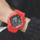 韓版ulzzang潮流手錶男多功能數字式電子錶男女學生戶外運動防水 熊貓本