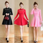 VK旗艦店 韓國風高領蕾絲拼接旗袍式長袖洋裝