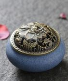 家用創意陶瓷紫巔迷你蓮花蓋香爐EY1599『東京衣社』