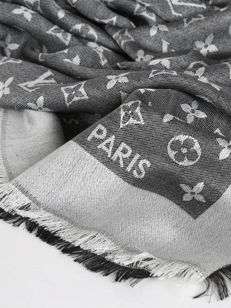 【雪曼國際精品】LOUIS VUITTON 經典MONOGRAM 花紋披肩圍巾(丹寧黑)全新品現貨