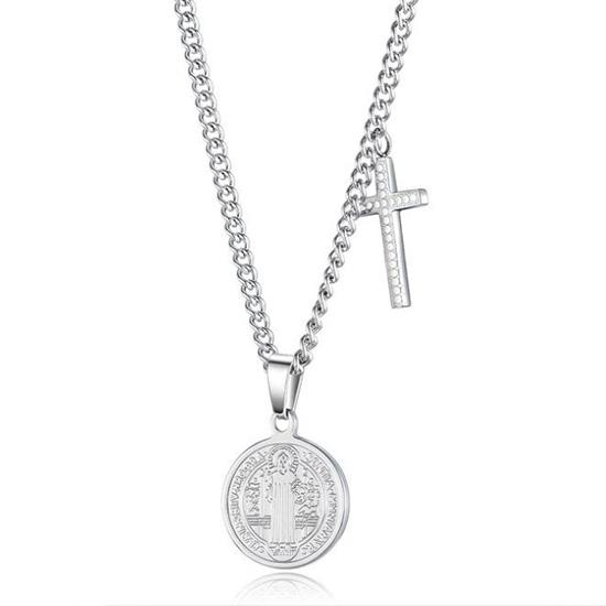 《QBOX 》FASHION 飾品【C20N1632】精緻宗教信仰聖母圓牌十字架鈦鋼墬子項鍊/掛飾