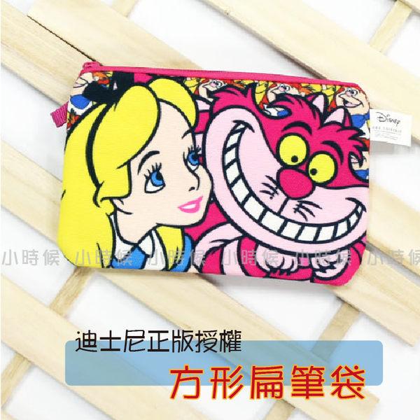 ☆小時候創意屋☆ 迪士尼 正版授權 愛麗絲&妙妙貓 帆布 扁 筆袋 化妝包 零錢包 創意 禮物 長夾