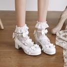 中大尺碼女鞋 lo鞋小高跟鞋女仙女風包頭涼鞋女夏大學生jk鞋子洛麗塔鞋lolita鞋