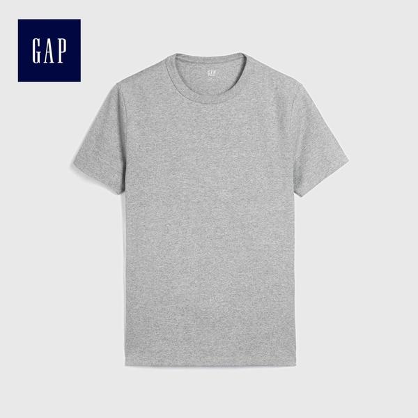 Gap男裝 全棉舒適純色圓領T恤 229755-淺石楠灰