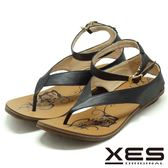 XES 夾腳涼鞋鞋 羅馬風設計 有型好穿 真皮耐穿 舒適皮中墊_黑色