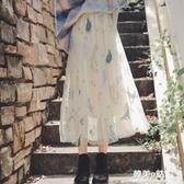 蕾絲網紗碎花半身裙中長款女高腰秋季新款不規則復古學生裙子 韓美e站